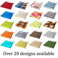 THICK ITALIAN FABRIC Chair Cushion SEAT PADS Tie On Garden Dining Kitchen SQUARE
