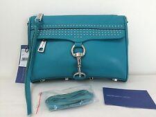 NWT Rebecca Minkoff Mini Mac Clutch Leather Wallet Teal Studded Stud No strap