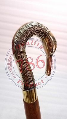 Vintage Style Brass Swan Head Handle Victorian Walking Stick Cane Spiral Carved