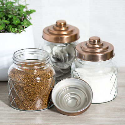 4 x Glass Storage Jars Copper Lids Tea Coffee Sugar Canisters Kitchen Containers