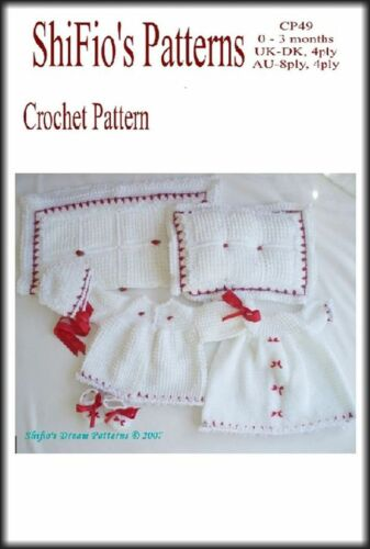 HAT BOOTIES CROCHET PATTERN BABY GIRL JACKET BLANKET /& PILLOW #49 BOOK DRESS