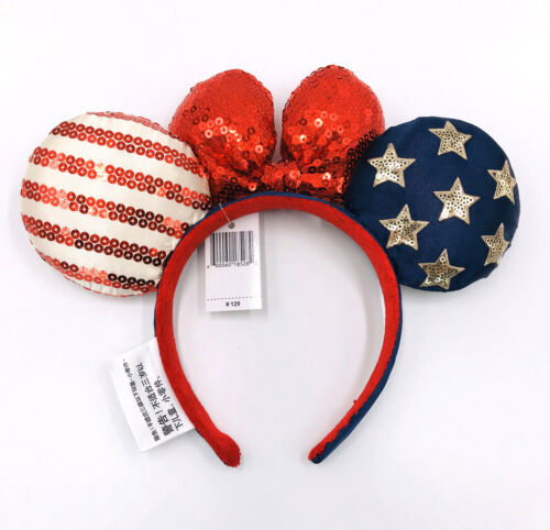 Details about  /Bow Minnie Ears Stars American Flag Disney Parks Sequins Mickey Mouse Headband