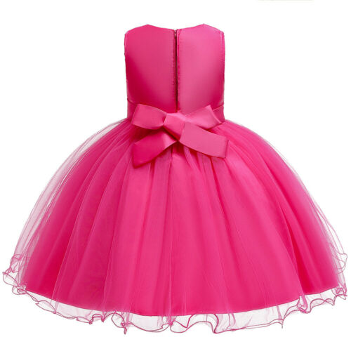Embroidery Kid Party Tulle Dress Bridesmaid Wedding Flower Girl Pageant Princess