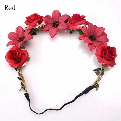 Women Bride Flowers Headband Beach Bohemian Style Rose Elastic Crown Hairband