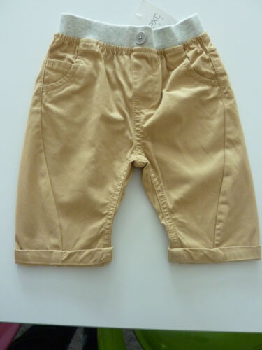 NEXT Cute Little Boys Beige Chinos with Grey Waistband 3-6 Months NWT