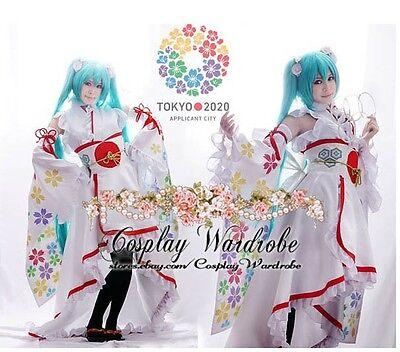 Vocaloid Olympic Miku Kimono Dress Cosplay Costume Floral Lolita Outfit Sakura