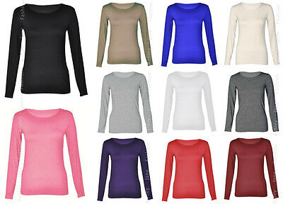 Womens Long Sleeve Scoop Neck PLUS SIZE Stretch Plain Ladies Tshirt Top UK 16-28