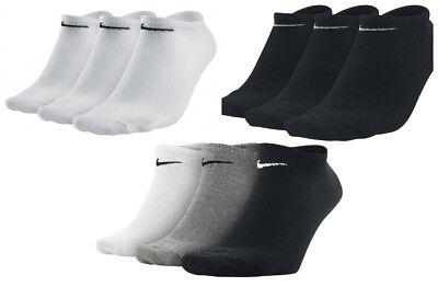 3 X Nike Cotone Leggero 3 Confezione No Show Unisex Allenamento Calzini- Facile E Semplice Da Gestire