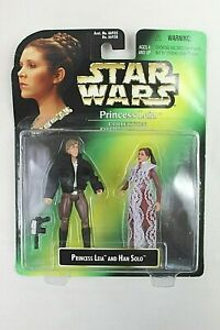 "STAR WARS KENNER PRINCESS LEIA COLLECTION WITH HAN SOLO 4"" TALL FIGURES 1997"