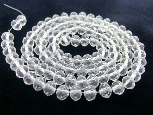 1 Strang 6x4mm à facettes perles de verre Ronds Cristal Perles