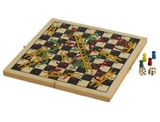 """11"""" Classic Snake And Ladders Wooden Game Set Folding Board New"""