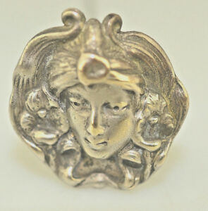 ANTIQUE-ART-NOUVEAU-SILVER-PLATE-8-IN-HATPIN-WOMAN-FACE-WITH-LILIES-IN-HER-HAIR