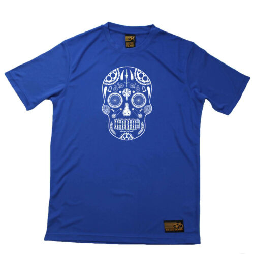 Cycling T-Shirt Funny Mens Sports Performance Tee Candy Skull Bike Parts