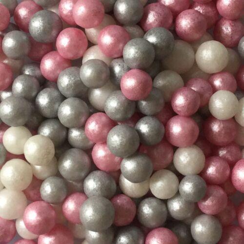 7mm Blanco Rosado Y Plata Perlas No Pareils Grageas bolas de Azúcar Decoración Pasteles 30g