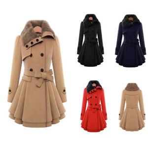 Women-Ladies-Fur-Collared-Winter-Long-Peacoat-Coat-Trench-Outwear-Jacket-Dress