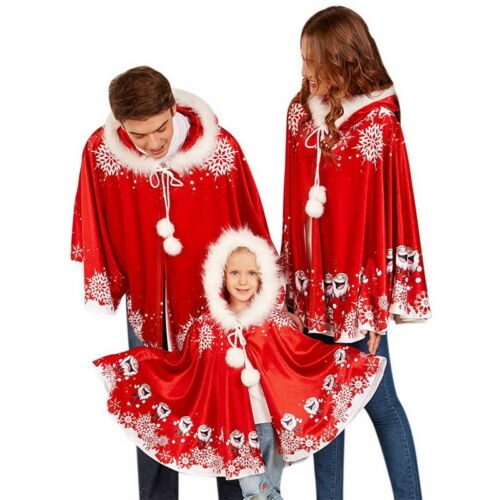 Christmas family Shawl Santa Claus Damen Herren Jacke Poncho Cape Weihnachten P//