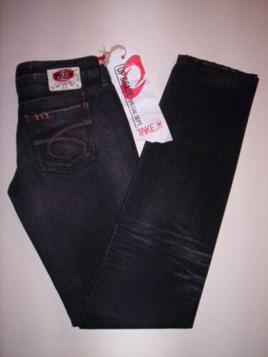 Pantaloni jeans stretti vita bassa Take Two donna tasche denim cotone neri 27 31