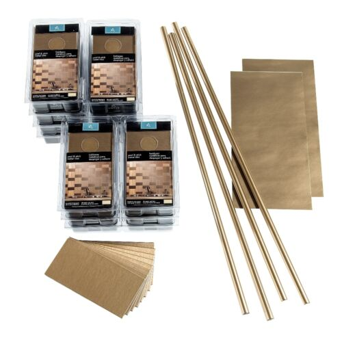 15 sq ft Kit Aspect Peel and Stick Backsplash 3inx6in Brushed Metal Tile