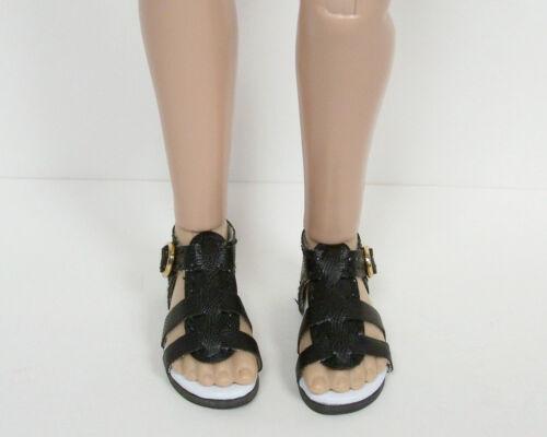 "Debs BLACK Strappy Sandals Doll Shoes For 14/"" Kish Chrysalis Lark Raven Piper"