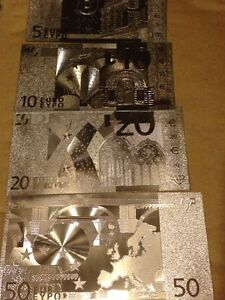 60pcs-Lot-SET-EUROS-Banknote-Silver-Foil-5-10-20-50-w-sleeve-for-each-Free-Ship