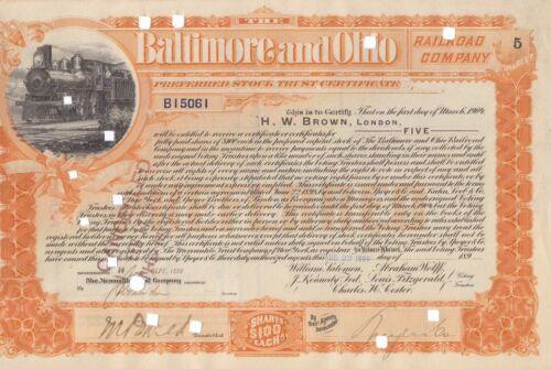 Baltimore /& Ohio Railroad Company 1899 Asst Shares Preferred Stock Certificate A