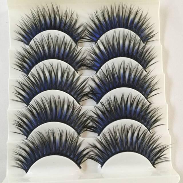 2f0790b2ed Women False Fake Eyelashes Black Blue Thick Cross Long Eye Lash Extensions for  sale online | eBay