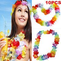 10X Hawaiian Beach Necklace Leis 96cm Lei Flower Decorations Luau Party Decor