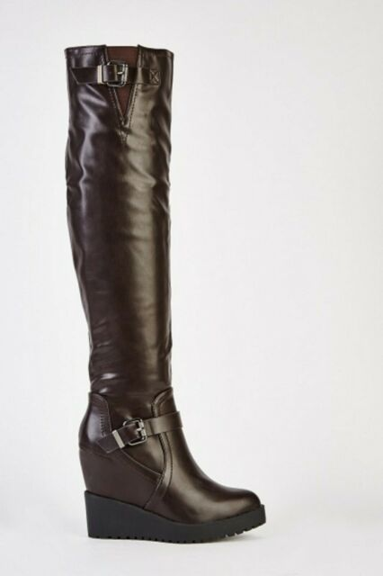 Womens Ladies Coffee Faux Leather Wedge Heel Over The Knee Boots Size UK 4 New
