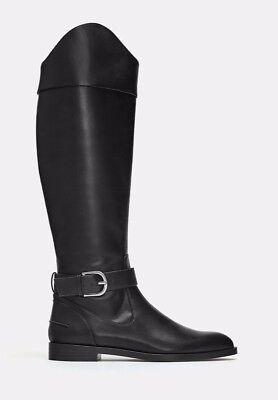 ZARA Black Flat Vegan Leather Knee High