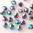 50pcs 6mm Bicone Faceted Crystal Glass Charms Loose Spacer Beads Color Plated