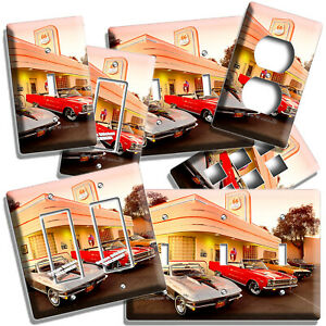 Retro 50 S Diner Cars Route 66 Neon Light Switch Outlet Wall Plate Room Hd Decor Ebay