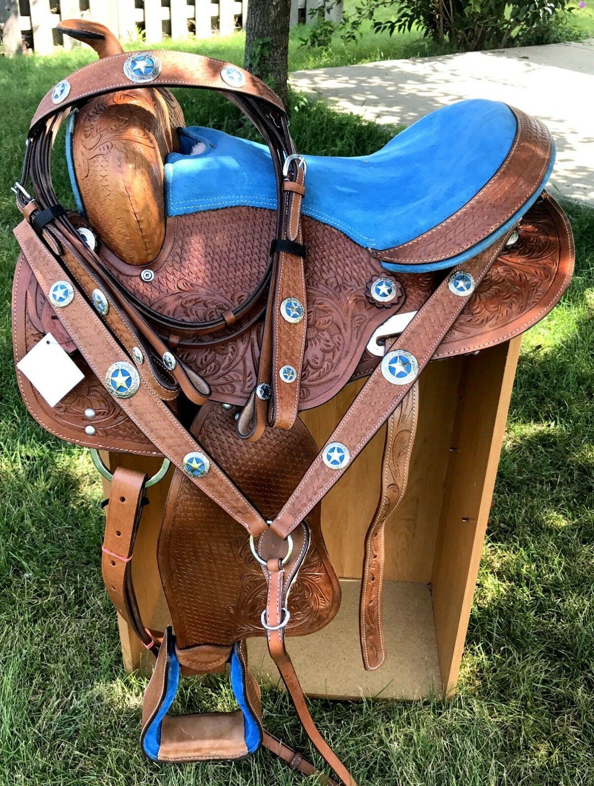 15  Youth Adult Saddle RODEO Medium Oil TEXAS STAR BARREL TOOLED Western 4PC SET