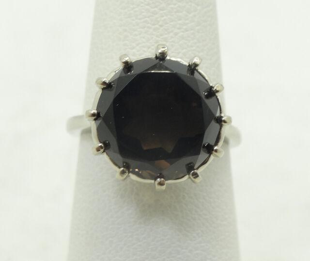 10K White Gold Large 12mm Round Smokey Topaz Ring Size 6 4.8g D19