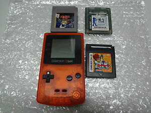 Game-Boy-System-Color-Daiei-Hawks-Clear-Orange-amp-Black-3-Games-Japan-LOOSE