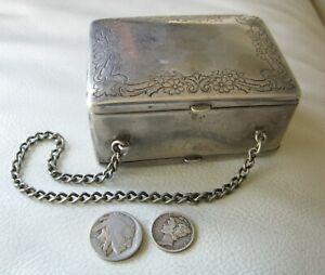 Antique German Silver Floral Compact Sac à main carte cas 2 faces Purse NB Co