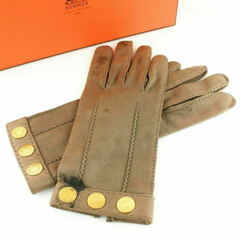 Hermes Sellier Lambskin Leather Gloves Beige Gold Size 7 1/2 With Box Neither Too Hard Nor Too Soft