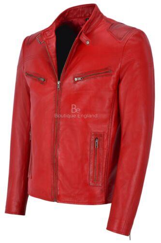 """VITESSE /""""Homme en Cuir Véritable Veste rouge délavé Motard Classique Moto Style Sr-02"""