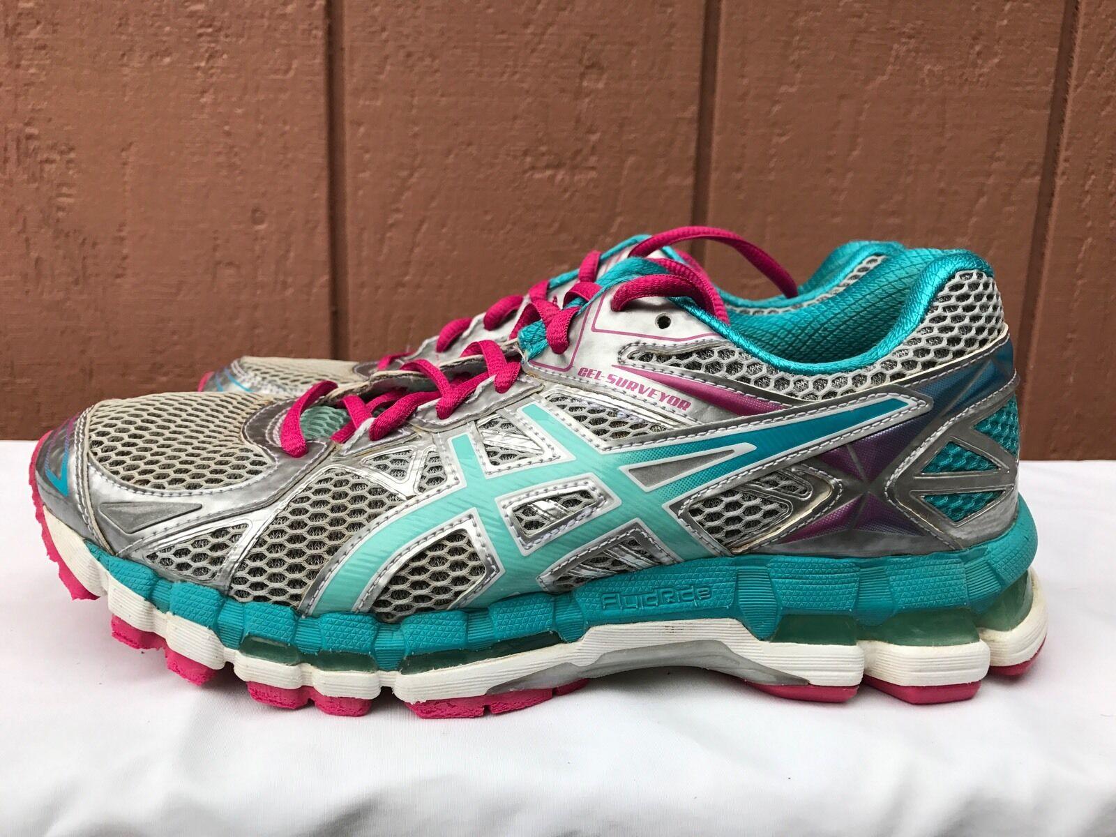 EUC Asics Gel-Surveyor Silver Blue Pink Womens US 8.5 Running Shoes T564N