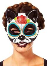 Day Of The Dead Costume Sugar Skull 3/4 Cat Mask Accessory Adult Women