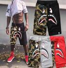 Men's Japan Camo bape shark jaw  Stretchy Casual Shorts Ape camo Black Pansts