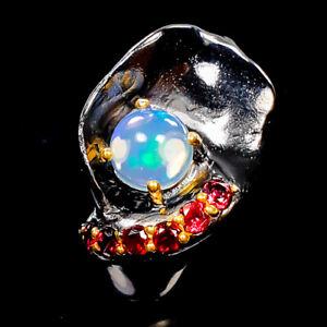 Opal-Ring-Silver-925-Sterling-Beauty-Rainbow7x7mm-Size-7-5-R133947