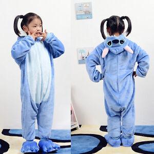 fefc258d390 Details about Children's Unisex Pajamas Kigurumi Cosplay Costume Kids  Stitch Sleepwear girl