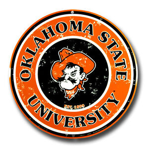 Details About Oklahoma State University Round Circle Sign Man Cave Cowboys Football Dorm