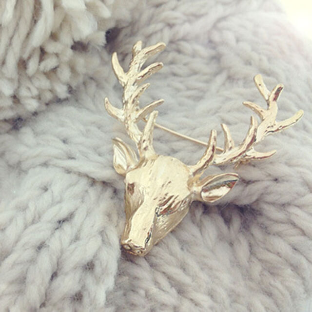 1 x Fashion Charm Animal Jewelry Gold Plated Deer Head Antlers Collar Pin Brooch