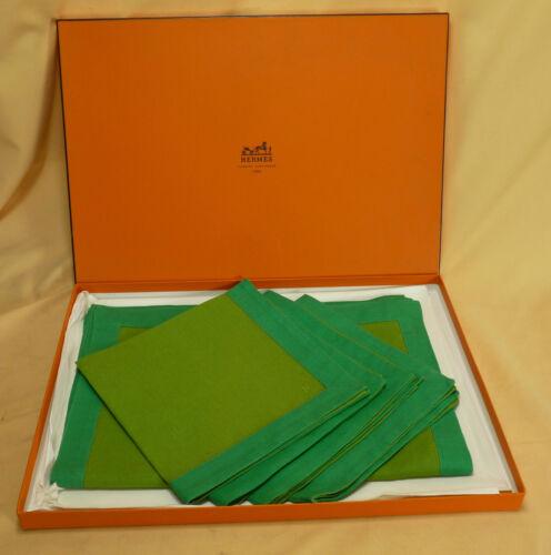 HERMÈS - Tischset - 4 Platzdecken mit Servietten - grün - #16750