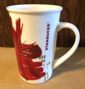 NEW-STARBUCKS-CHRISTMAS-POINSETTIA-FLOWER-TALL-COFFEE-MUG-RED-amp-GOLD-2014-12-OZ