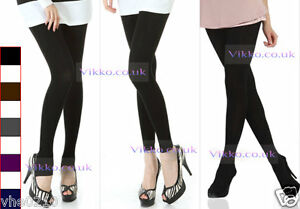Quality-Warm-Cotton-Tights-Footless-Tights-Stir-ups-5-Colours-UK-8-14
