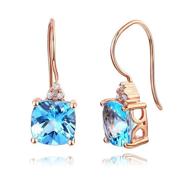 Dangle 14K pink gold Swiss bluee Topaz Earrings Natural 0.07 Ct Diamonds