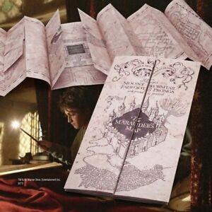 Harry-Potter-Parchment-Marauder-039-s-Map-Retro-Pergamentkarte-mit-Sammlerstueck-Neu