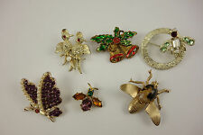 Vintage Bug Birds Butterfly Colored Rhinestone Lot of Brooches